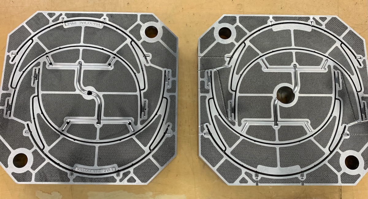 Faceshield headband injection mold insert made with conformal cooling on 3D metal printer